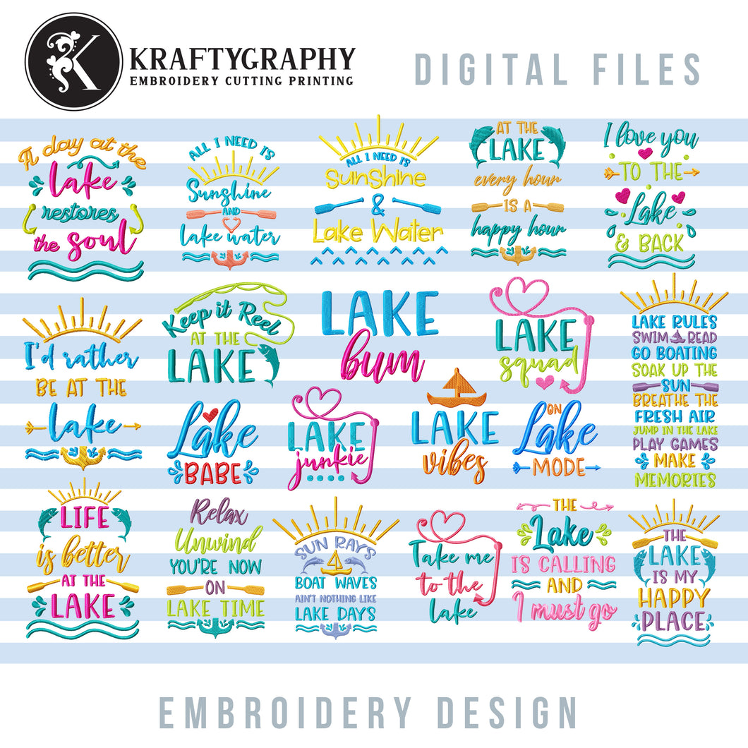 Lake Machine Embroidery Designs, Camping Embroidery Patterns, Camper Embroidery Files, Campsite Embroidery Pes, Lake Shirt Embroidery, Lake House Embroidery, summer embroidery-Kraftygraphy