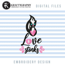 Load image into Gallery viewer, Love Stinks Embroidery Designs, Funny Valentine Embroidery Patterns, Skunk Embroidery Pes Files, Toilet Paper Embroidery Sayings, Valentine's Day Hus Files, Skunk Applique, Anti Valentine Shirt Embroidery, Napkin Embroidery-Kraftygraphy