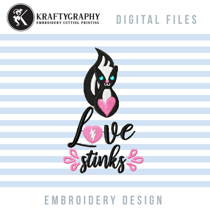 Love Stinks Embroidery Designs, Funny Valentine Embroidery Patterns, Skunk Embroidery Pes Files, Toilet Paper Embroidery Sayings, Valentine's Day Hus Files, Skunk Applique, Anti Valentine Shirt Embroidery, Napkin Embroidery-Kraftygraphy