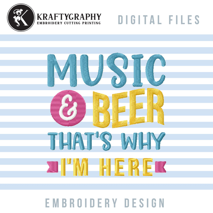 Music and Beer Machine Embroidery Designs, Funny Drinking Embroidery Patterns, Drinking Embroidery Sayings, Drinking Patches Embroidery, Can Coolers Embroidery, Kitchen Towels Embroidery Files, Coasters Pes Files, Beer Embroidery, Mug Rug Embroidery-Kraftygraphy