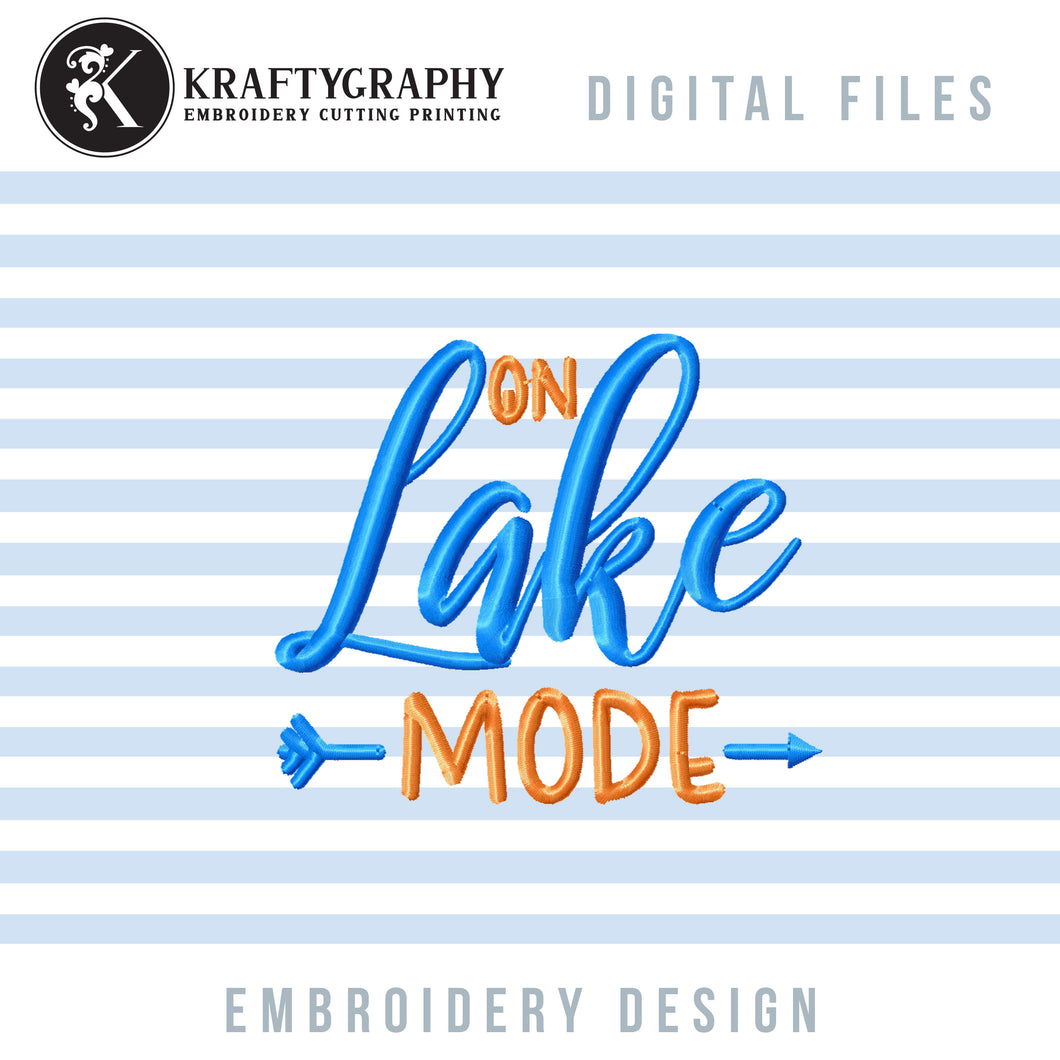 On Lake Mode Machine Embroidery Designs, Camping Embroidery File, Fishing Girl Embroidery Designs, Mountain Embroidery Pattern, Summer Embroidered Tops, Lake Shirt Embroidery, Lake Pes,-Kraftygraphy