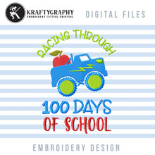 Load image into Gallery viewer, 100 Days of School Embroidery Designs for Boys, Truck Machine Embroidery Applique, 100th Day of School Embroidery Patterns, Kindergarten Embroidery Sayings, First Grade Pes Files,-Kraftygraphy