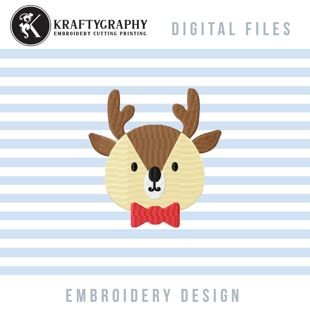 Reindeer Face Embroidery Designs, Cute Reindeer Embroidery Patterns, Christmas Embroidery Files, Kids Christmas Embroidery,-Kraftygraphy