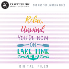 Load image into Gallery viewer, Lake Time SVG, Mountain Lake Clipart, Lake PNG Image, Lake Sublimation Design, Lake House Vector, Lake House Sign Sayings, Camping Quotes SVG, Summer Camp SVG,-Kraftygraphy