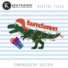 Load image into Gallery viewer, Santasaurus Embroidery Designs, Christmas Dinosaur Embroidery Patterns, Dinosaur With Santa Hat Embroidery Files, Christmas Embroidery Pes Files, Kids Embroidery Jef Files, Cute T-Rex With Christmas Lights Embroidery, Christmas Embroidery-Kraftygraphy