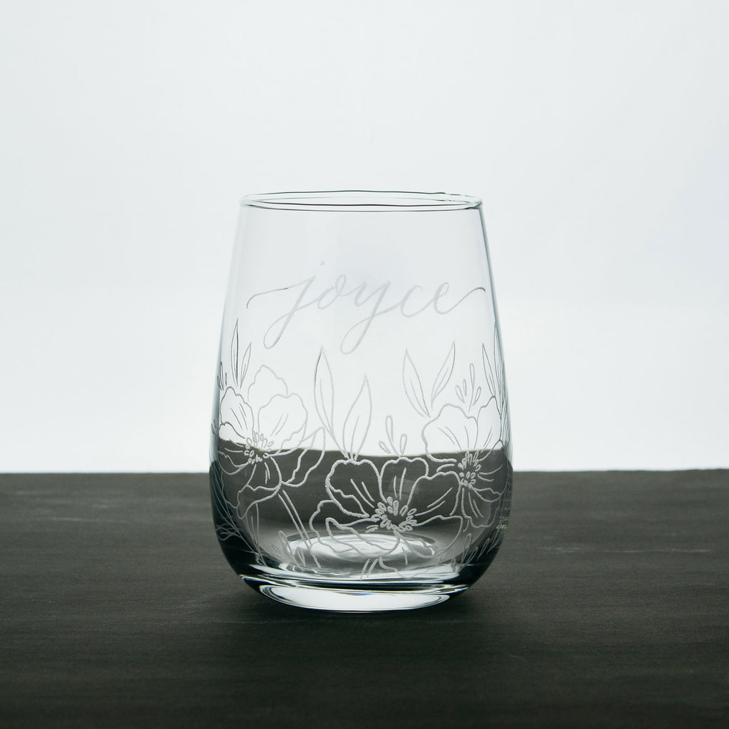 Floral Base Engraved Stemless Wine Glass *with Custom Calligraphy*