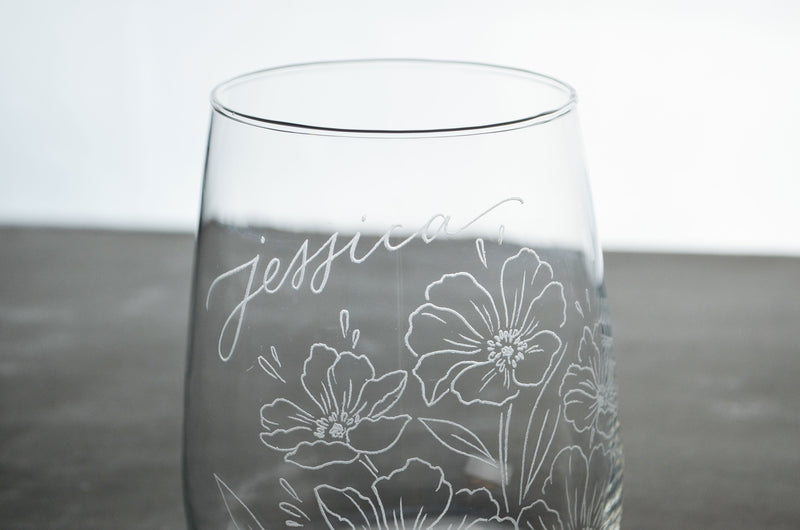 Floral Bouquet Engraved Stemless Wine Glass *with Custom Calligraphy*