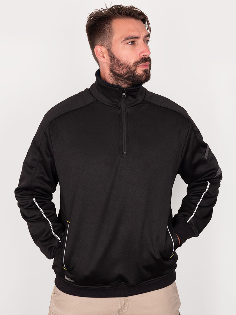 FLEECE 1/4 ZIP PULLOVER WITH SHERPA LINING