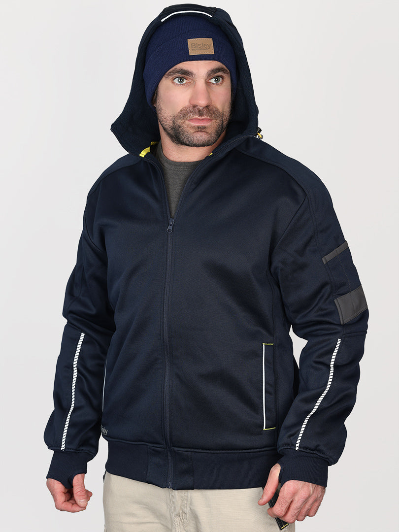 FLEECE ZIP FRONT HOODIE WITH SHERPA LINING