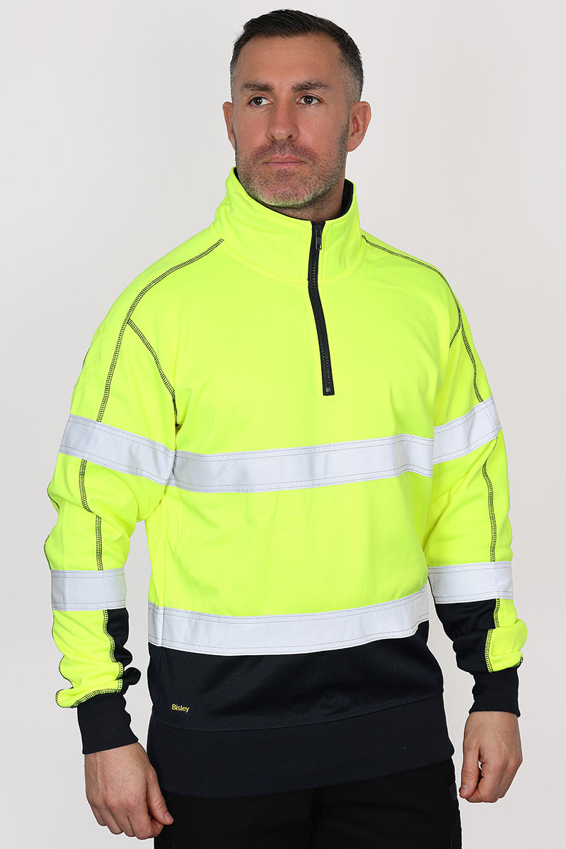 TAPED HI VIS ZIP FLEECE PULLOVER WITH SHERPA LINING