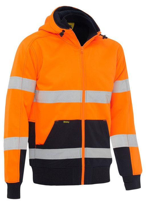 TAPED HI VIS ZIP FLEECE HOODIE WITH SHERPA LINING