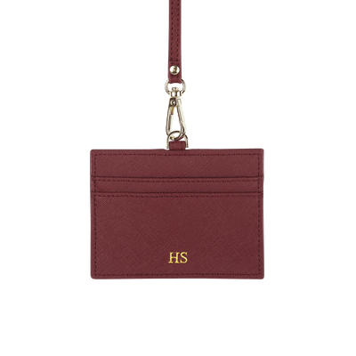 Burgundy - Saffiano Horizontal ID Cardholder Lanyard - THEIMPRINT CO