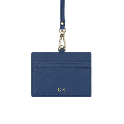 Navy - Saffiano Horizontal ID Cardholder Lanyard - THEIMPRINT CO