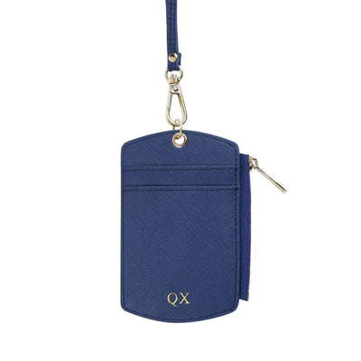 Navy - Saffiano ID Cardholder Lanyard with Zip | Personalise | TheImprint Singapore