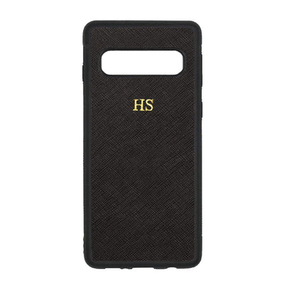 Black Samsung S10 Saffiano Phone Case | Personalise | TheImprint Singapore