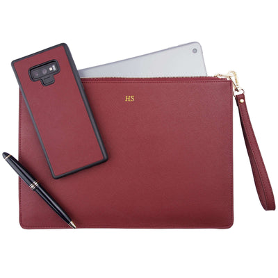 Burgundy - Large Saffiano Pouch | Personalise | TheImprint Singapore