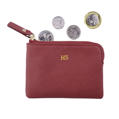 Burgundy - Saffiano Coin Pouch | Personalise | TheImprint Singapore