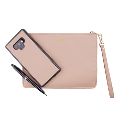 Nude - Small Saffiano Pouch | Personalise | TheImprint Singapore