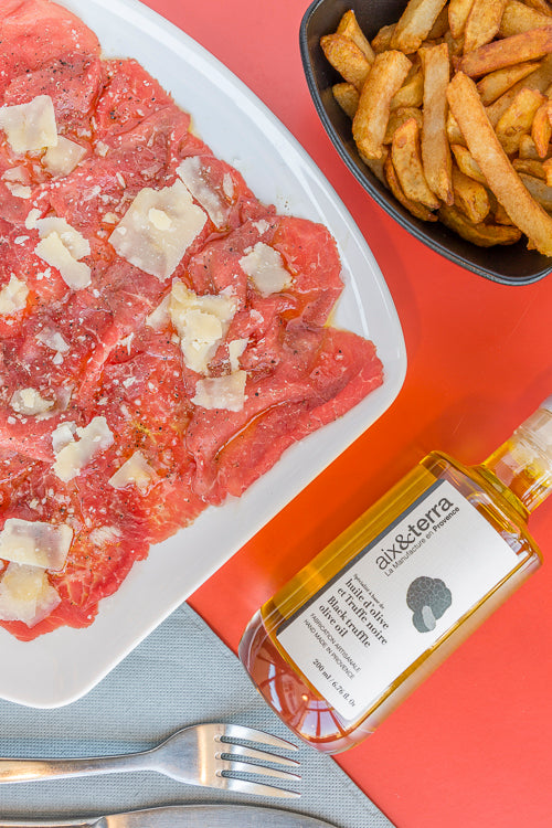 aix&terra truffle oil recipe with steak tartare and parmesan cheese