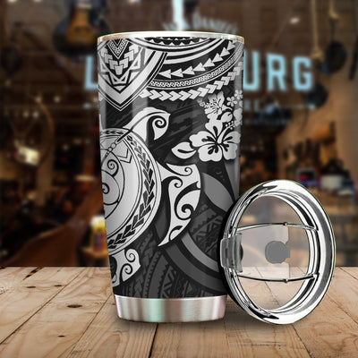 White Polynesian Hawaii With Turtle Pattern All Over Print Tumbler