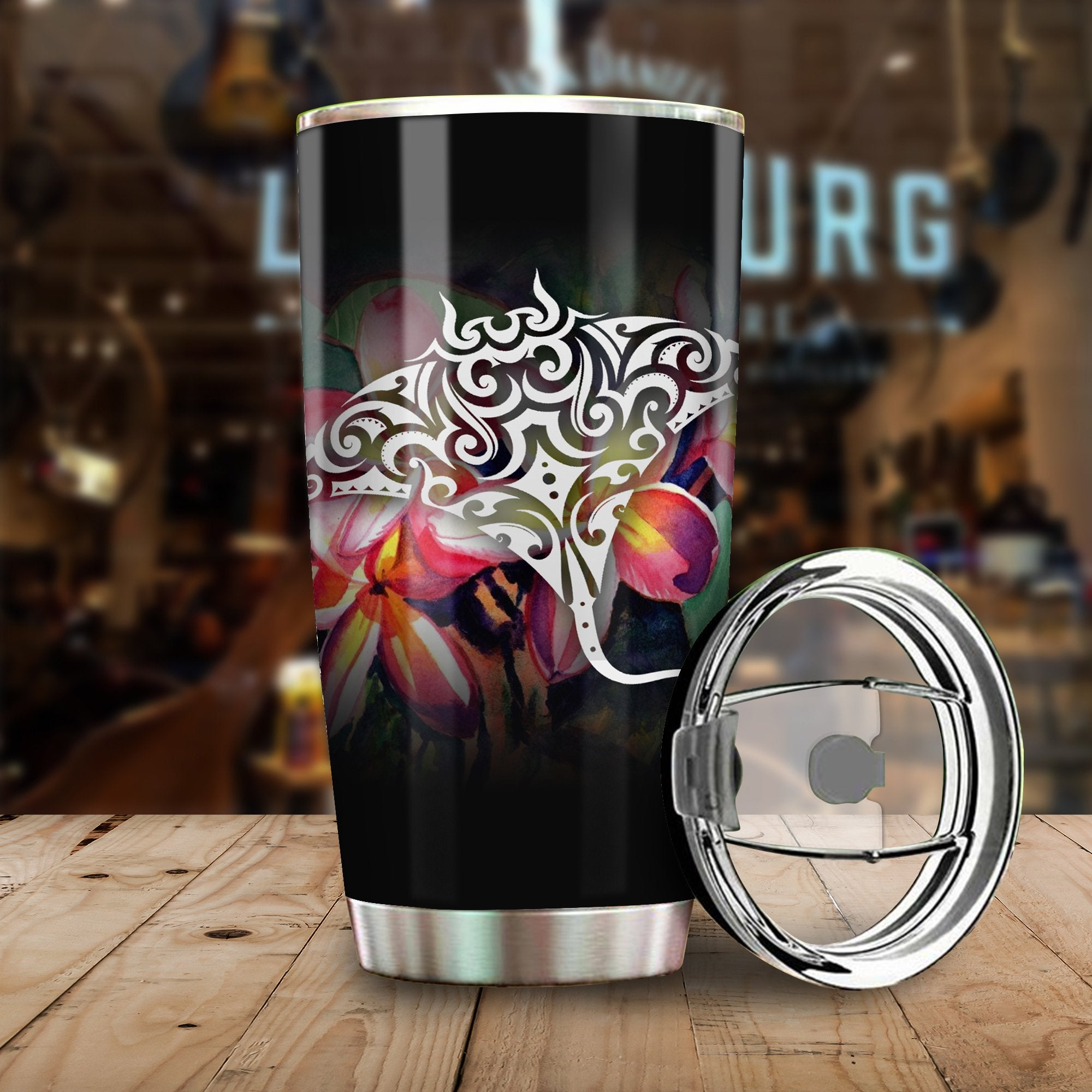 Polynesian Manta Ray And Hibiscus Flowers Black All Over Print Tumbler
