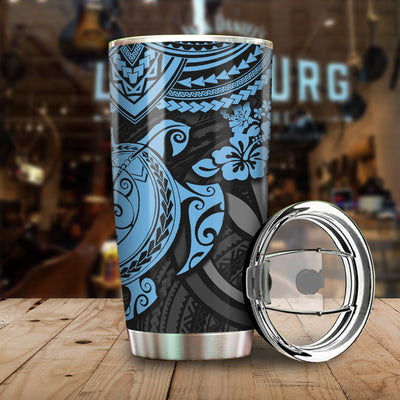 Blue Polynesian Hawaii Pattern All Over Print Tumbler