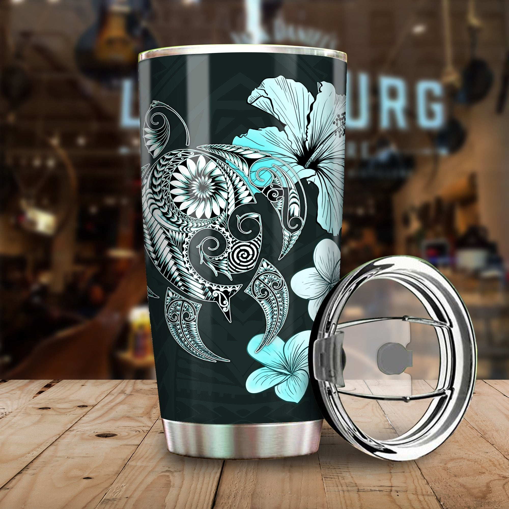 Hibiscus Plumeria Mix Polynesian Turquoise Turtle All Over Print Tumbler