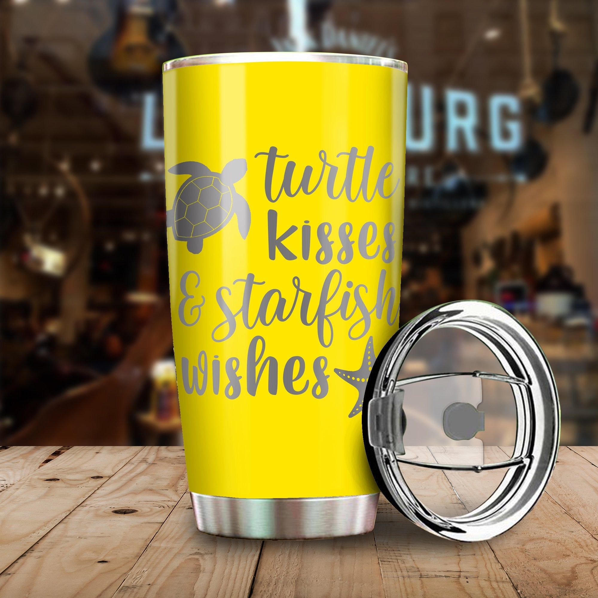 Turtle Kisses And Starfish Wishes All Over Print Tumbler