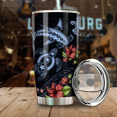 American Samoa Polynesian Sea Turtle And  hammerhead Shark All Over Print Tumbler