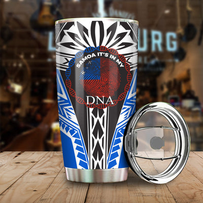 Samoa It_s In My DNA Color Blue All Over Print Tumbler