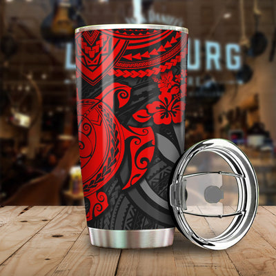 Red Polynesian Hawaii Pattern All Over Print Tumbler - luxamz