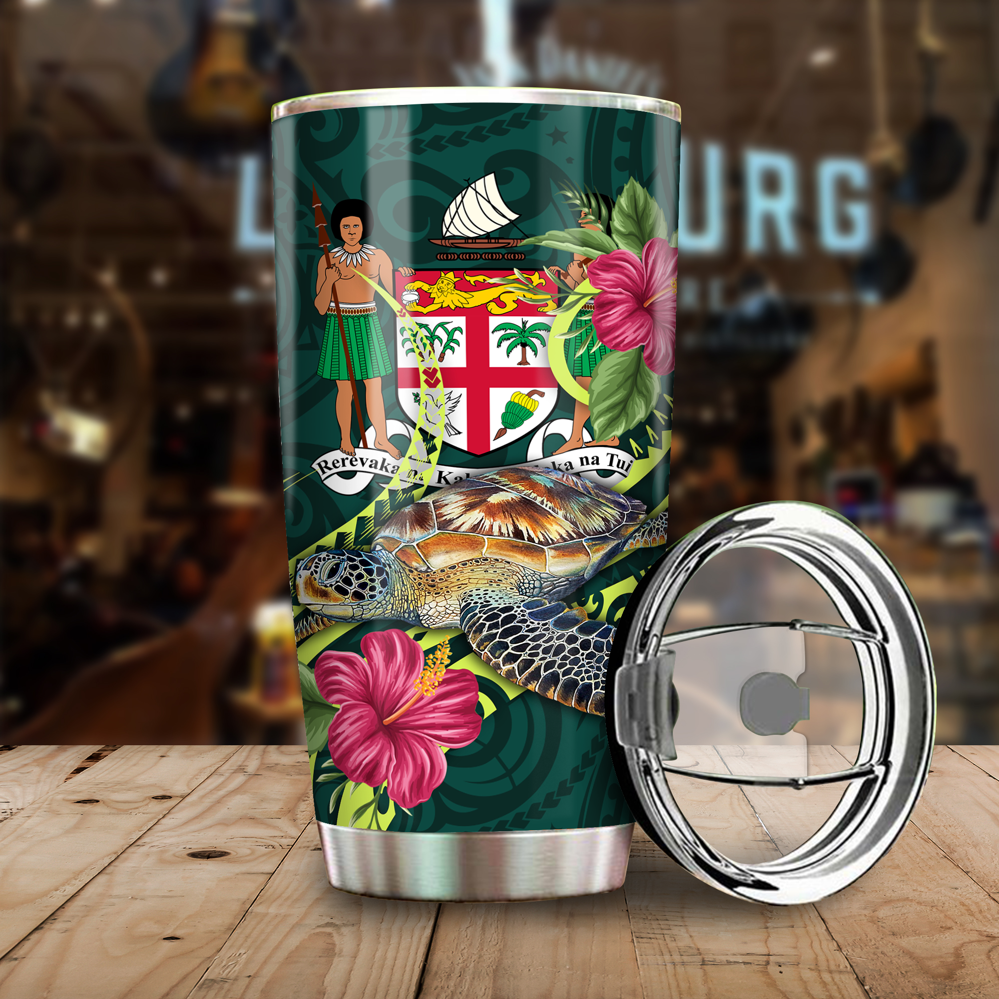 Fiji Polynesian Green Turtle Hibiscus Tumbler All Over Print - luxamz