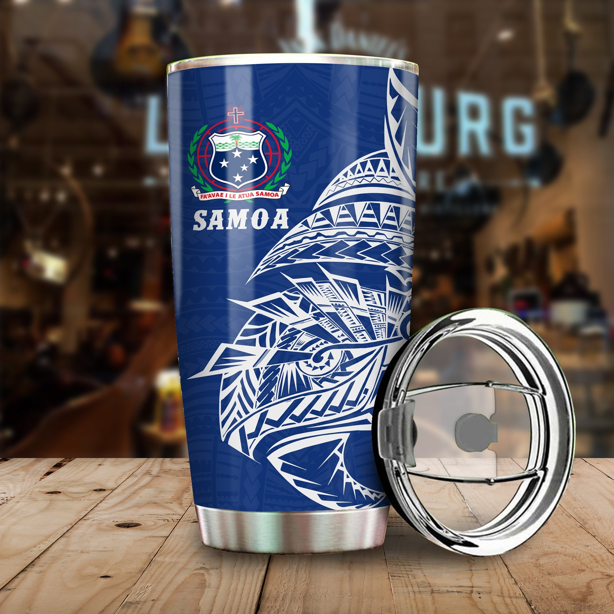 Samoa Rugby  - Samoa Coat Of Arms Polynesian Tattoo Style All Over Print Tumbler - luxamz