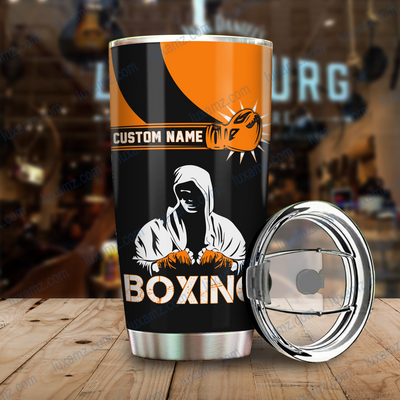 Boxing King Crown 3D Orange Customize Name Tumbler All Over Print