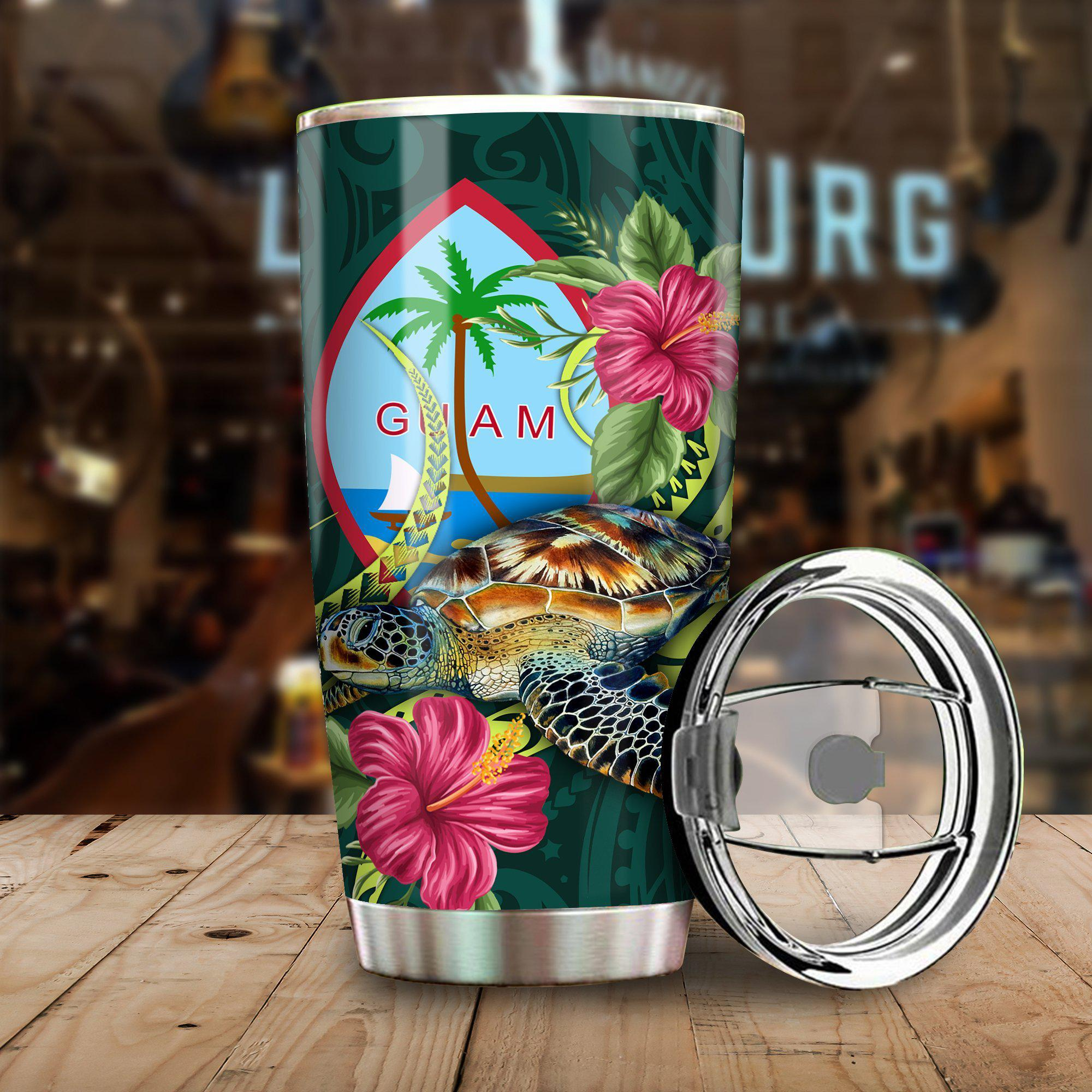 Polynesian Guam Green Turtle Hibiscus All Over Print Tumbler - luxamz