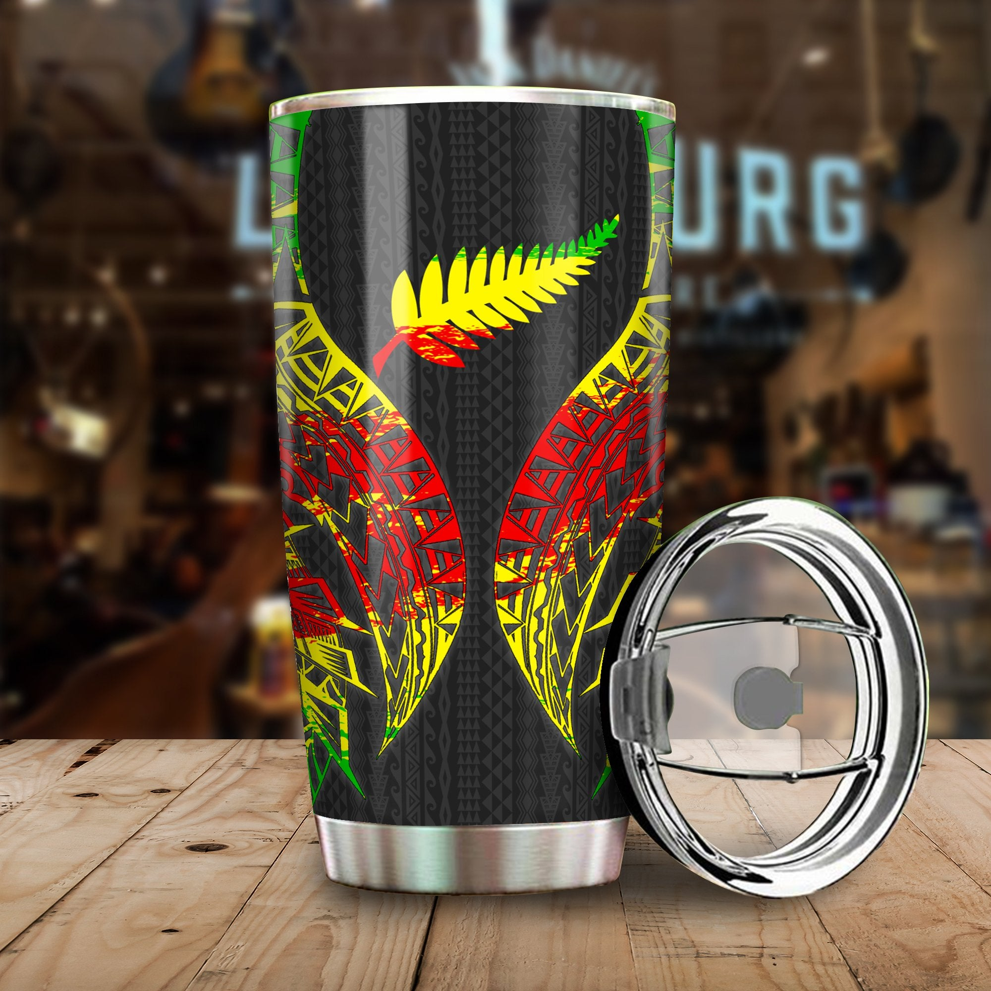 New Zealand Hibiscus Polynesian Pattern Reggae All Over Print Tumbler