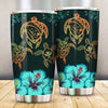 Hawaii Map Turtle Hibiscus Polynesian Luxury Sarong Honu Ohana All Over Print Tumbler