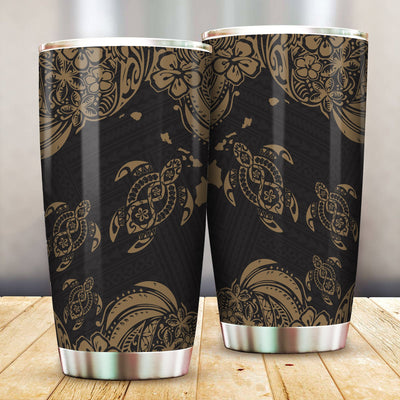 Hawaii Polynesian Gold Sea Turtle Tattoo Cultural All Over Print Tumbler - luxamz