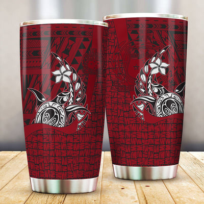 Samoa Polynesian Turtle with Hook Red All Over Print Tumbler - luxamz