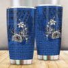 Samoa Polynesian Turtle with Hook Blue All Over Print Tumbler