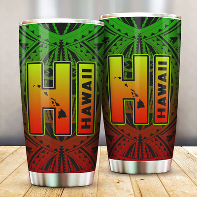 Hawaii Map Polynesian HI All Over Print Tumbler - luxamz