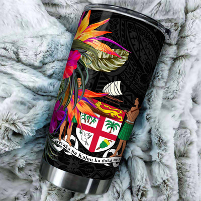 Fiji Polynesian Hibiscus Pattern All Over Print Tumbler