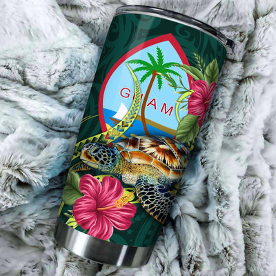 Polynesian Guam Green Turtle Hibiscus All Over Print Tumbler