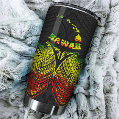 Hawaii Polynesian Reggae Pride Map And Seal All Over Print Tumbler