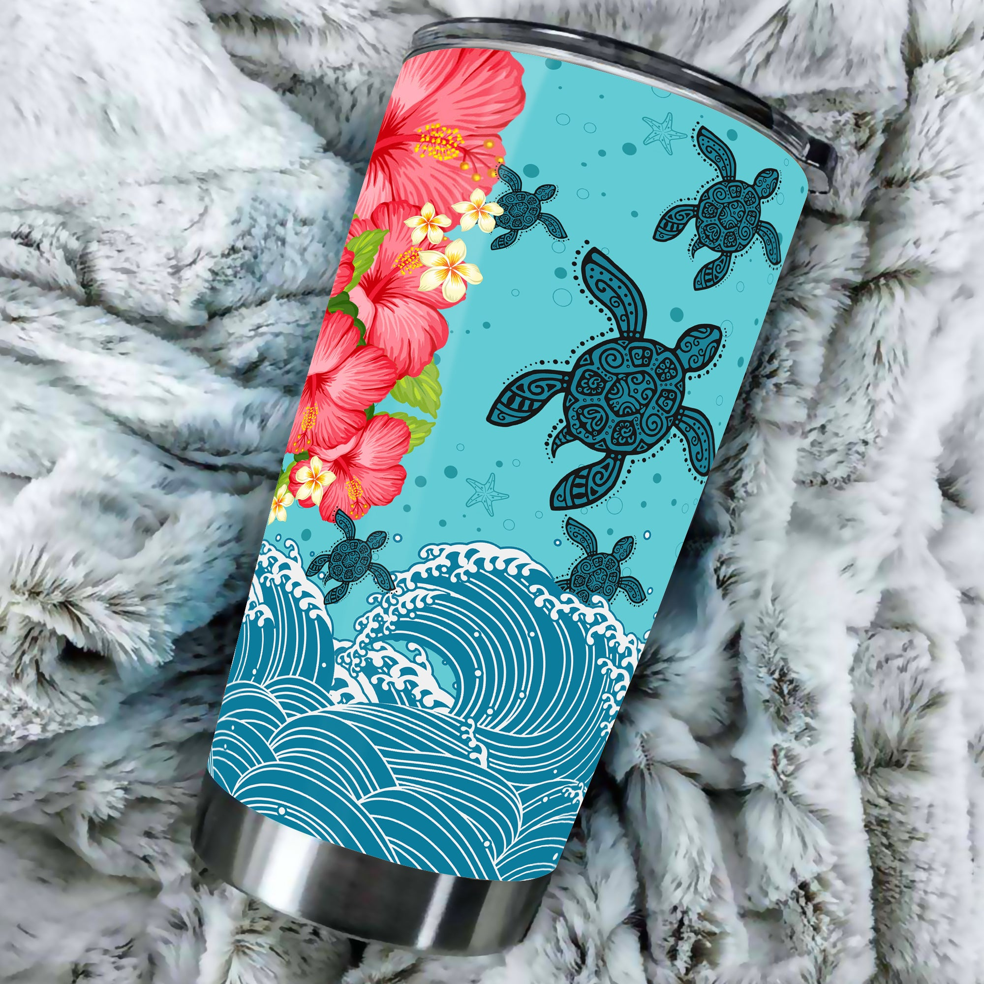 Hawaii Turtle Hibiscus Light Blue All Over Print - luxamz
