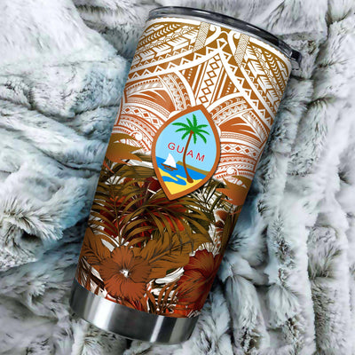 Guam Polynesian Palm Leaves Hibiscus Plumeria Flowers All Over Print Tumbler