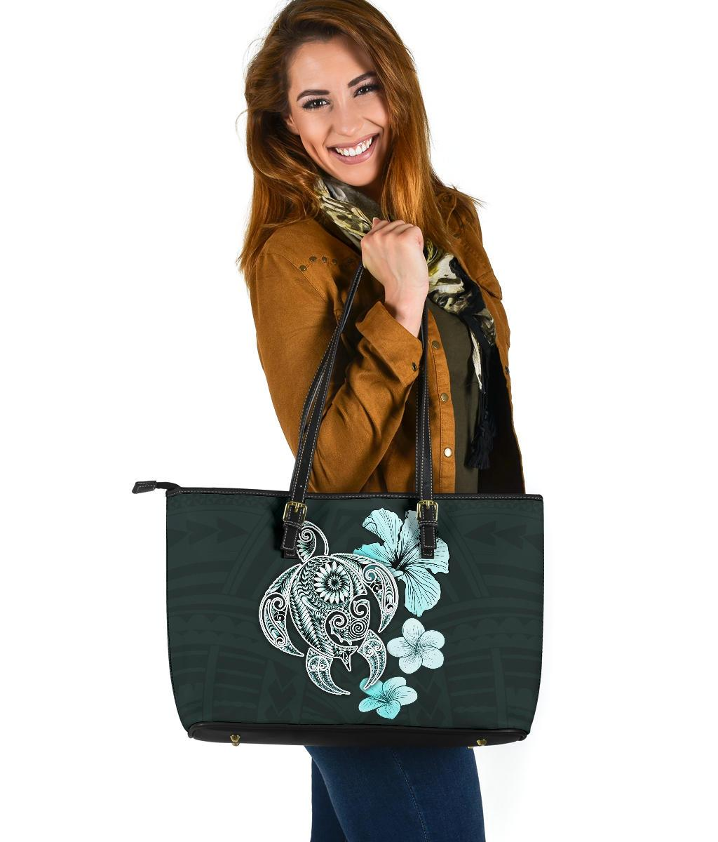 Hibiscus Plumeria Mix Polynesian Turquoise Turtle Large Leather Totes