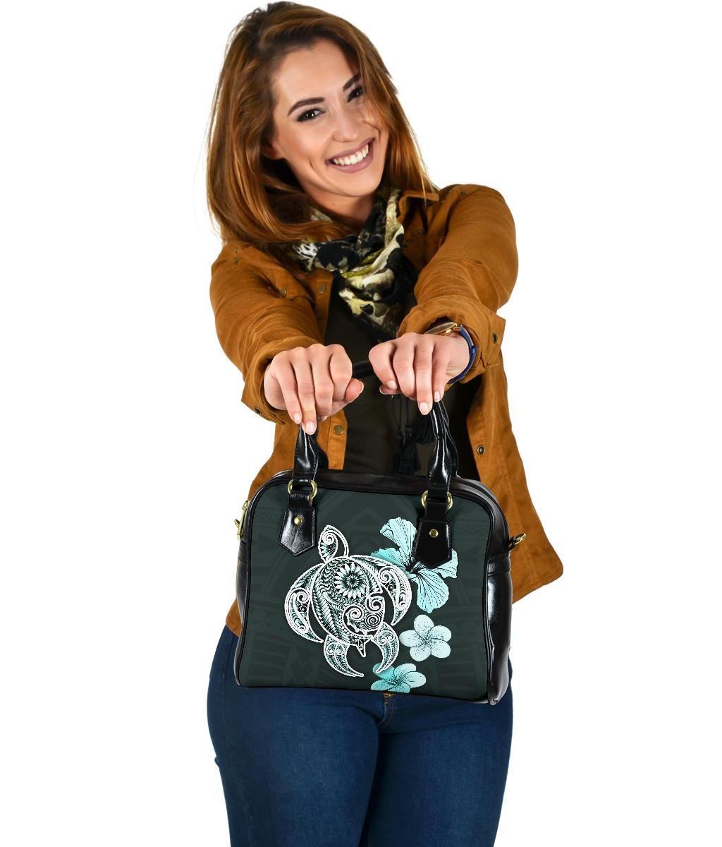 Hibiscus Plumeria Mix Polynesian Turquoise Turtle Shoulder Handbags