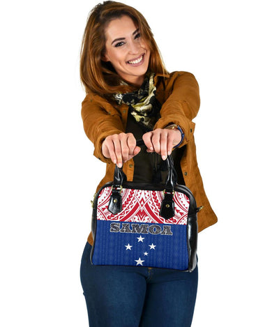 Samoa Polynesian Blue and Red Pattern Shoulder Handbags