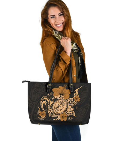 Hawaii Turtle and Hibicus Flower Polynesian Large Leather Tote